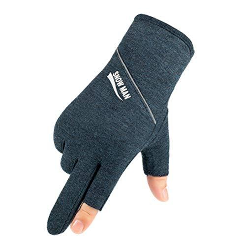 ChengBeautiful Angelhandschuhe Seide Baumwolle dünne Männer und Frauen im Freien Sport Angeln Radfahren Fahrrad rutschfeste Wärme Zwei-Finger atmungsaktive Handschuhe (Farbe : Blau, Size : Medium)