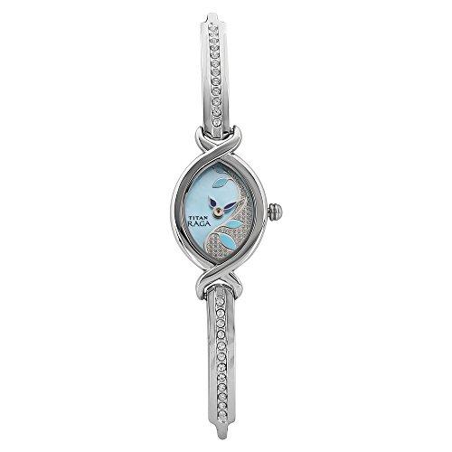 Titan Raga oro/plata Metal diseño de joyas, pulsera cierre, cristal, resistente al agua, de cuarzo analógico reloj de pulsera