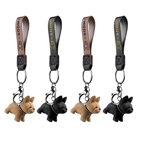 Amosfun 4pcs French Keychain Cartoon Animal Keychain Dog Key Ring Car Key Chain Purse Hand Bag Backpack Charm Gift Black Orange