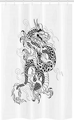 ABAKUHAUS Drachen Schmaler Duschvorhang, Sketch Art Monster, Badezimmer Deko Set aus Stoff mit Haken, 120 x 180 cm, Weiß Schwarz