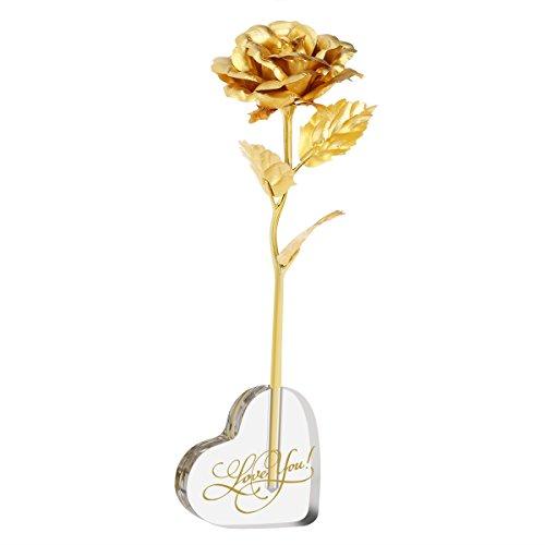 PIXNOR 24K lámina de oro artificiales flores de rosas para día de la madre cumpleaños aniversario día de San Valentín Regalo
