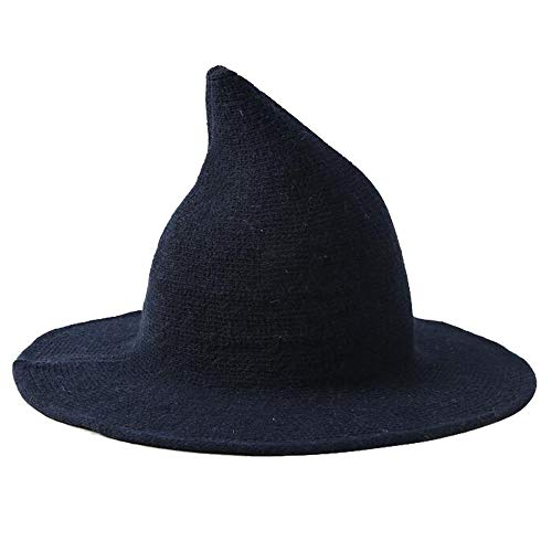 Natsuki Women's Kinitted-Wool Witch Hat for Halloween Party Cosplay Costume One Size Navy