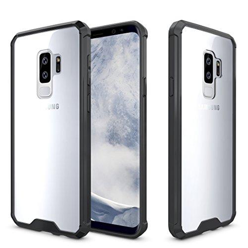 wortek Beschermhoes voor Samsung Galaxy S9 Plus, schokbestendig, schokbestendig, elastische rand, transparante beschermhoes, TPU-siliconen, camera-bescherming, kozijnen, zwart, premium telefoonhoes voor Galaxy S9+