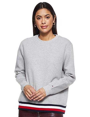 Tommy Hilfiger Damen Kitty C-NK LS Sweatshirt, Grau (Light Grey Heather PYT), Medium (Herstellergröße:M)