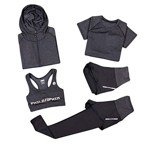 Xinwcang Damen Yoga Kleidung Anzug 5er-Set Gym Fitness Kleidung Set Schnell trocknend Lauf Jogging Trainingsanzug Grau1 M