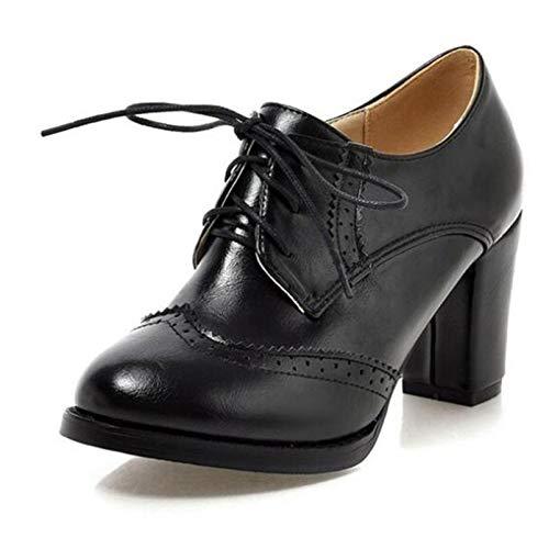 Zapatos Brogue Vintage para Mujer Tacones Altos de Moda Zapatos Oxford con Cordones Zapatos de tacón en Bloque Botines de Fiesta