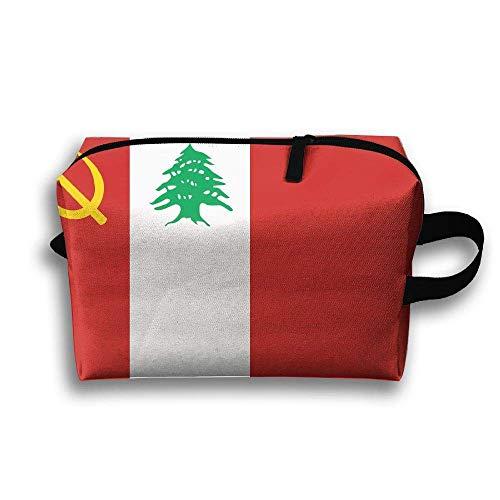 Flagge der libanesischen kommunistischen tragbaren Reise-Make-up-Tasche, Aufbewahrungstasche-tragbare Damen-Reise-Quadrat-Kosmetiktasche