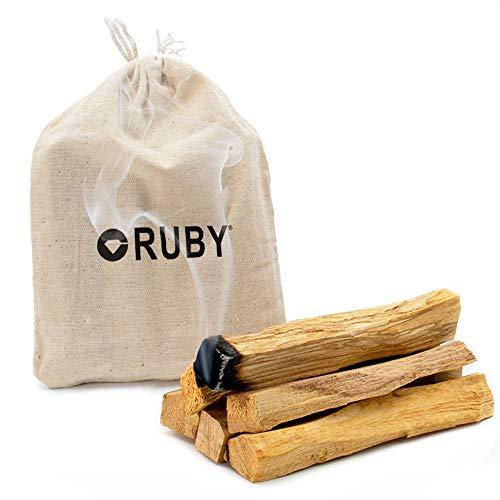 RUBY - Palo Santo Incienso Natural XL Madera Sagrada 100% Natural de Perú para alejar Las Energías negativas y atraer Las Vibras Positivas (60 Gramos)