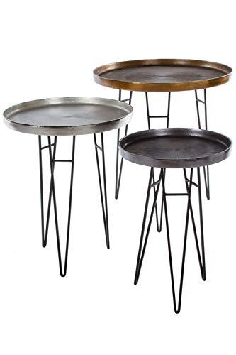 elbmöbel 3 TLG Beistelltisch Set Tisch Couchtische Metall slber grau Bronze