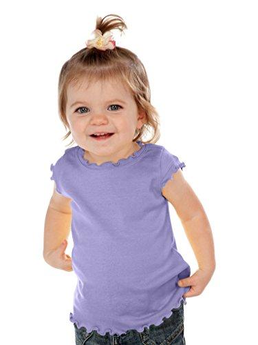 Kavio! Infants Lettuce Edge Scoop Neck Cap Sleeve Top Lavender 24M