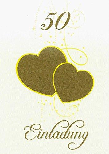 Einladungskarten goldene Hochzeit mit Innentext Motiv Herzen Gold 10 Klappkarten DIN A6 mit weißen Umschlägen im Set Einladung Goldhochzeit 50 Jahre verheiratet K23
