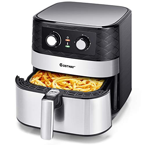 COSTWAY Electric Hot Air Fryers Oven, 1700W Oilless Cooker with Timer & Temperature Control, NonstickFry Basket, Auto Shutoff Protection, Black, 5.3 QT