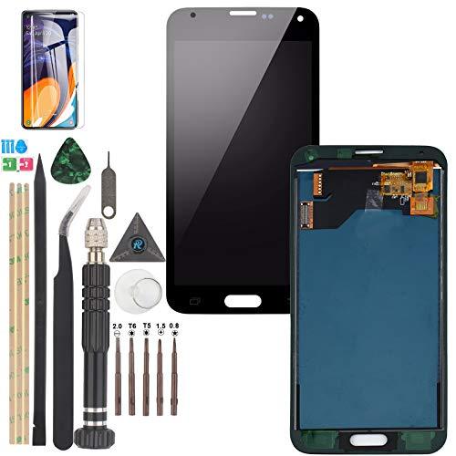 RongZy Kompatibel mit Samsung Galaxy S5 I9600 SM-G900 Ersatz Bildschirm LCD Display und Touchscreen-Digitizer mit Werkzeugen (Schwarz)