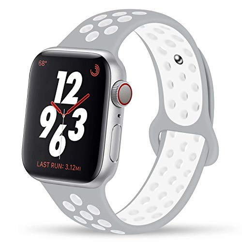 YC YANCH Greatou Compatible for Apple Watch Band,Soft Silicone Sport Band Replacement Wrist Strap Compatible for iWatch Series 5/4/3/2/1,Nike+,Sport,Edition,38mm 40mm M/L,Pure Platinum White