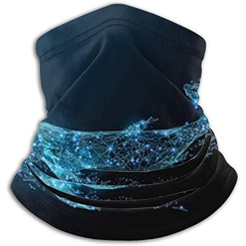 Scaldacollo in Microfibra-Manicotto per Scaldacollo, Scaldacollo Fascia Frontale Maschera Balena Blu Poligono Composto Animale Marino