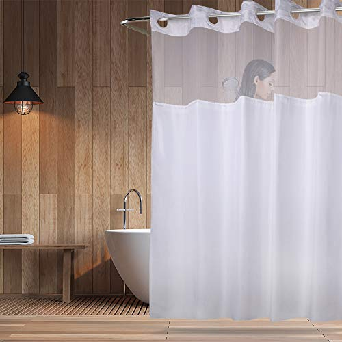 YQN No Hook Shower Curtain with Magnet 70.8 x 74 Inch...