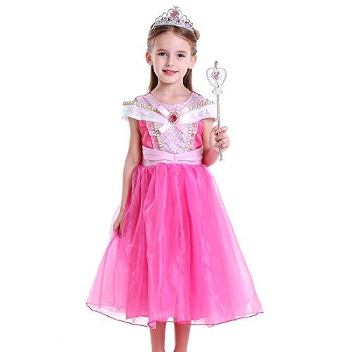 LiUiMiY Vestito Principessa Bambina Carnevale, Abito Costume Bambini Invernale Halloween Natale, Rosa, 104-110 (etichetta 110)
