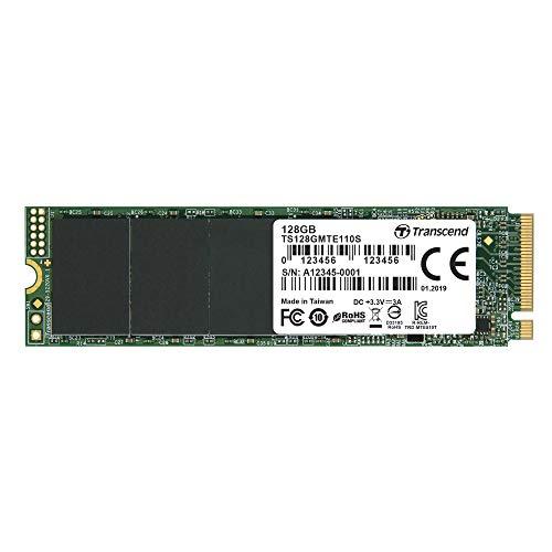 Transcend 128GB PCIe Gen3 x4 M.2 SSD 2280 für High-End-Anwendungen (Gaming, digitale Audio- und Videoproduktionen, etc.); schnelle Übertragung (bis zu1.700 / 1.400 MB/s) TS128GMTE110S