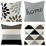 """Aoomzoon Pillow Covers 18x18 Set of 4, Modern Boho Geometric Decorative Throw Pillow Covers, Cotton Linen Home Decor Cushion Cover for Couch Sofa Living Room Outdoor Car (18""""x18"""", Light Blue)"""