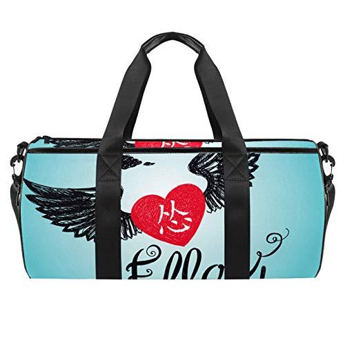 Bolsas de viaje para la playa, grandes deportes para gimnasio, durante la noche, diseño de alas de corazón, con bolsillo seco y húmedo