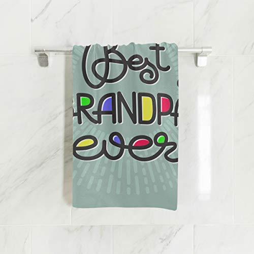 NQEONR Little Girls Beach Towel Best Grandpa Ever Handwritten Lettering Grandparents Soft Towel Fingertip Hand Towel for Baby Bathroom Shower Wrap Gym Sport 30x15 Inch Men Hand Towels