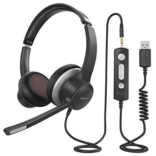 Mpow 328 - Auriculares USB de 3,5 mm para ordenador con micrófono, auriculares empresariales ligeros con tarjeta de audio para la reducción del ruido, control en línea para Skype MS Team Zoom PC móvil