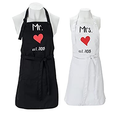 Mr. and Mrs. Aprons est. 2018 Gift Box Included - His and Her Wedding Gift, Bridal Shower or Engagement Gift, Newlyweds Couples, Funny Kitchen Cooking Bibs for Bride and Broom