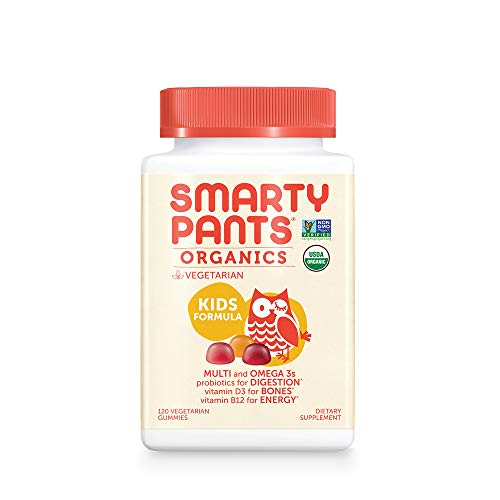 Daily Organic Gummy Kids Multivitamin: Vitamin C, D3 & Zinc for Immunity, Biotin, Omega 3 from Flaxseed Oil, B6 & B12 for Energy by SmartyPants 120 Count (30 Day Supply) Packaging May Vary