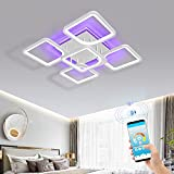 AHAWILL Dimmable Ceiling Light,Flush Mount Light Fixtures Modern LED Ceiling Lightwith App Bluetooth Connection/Remote Control,60W Ambient Light for Bedroom Living Room,Office, Kids Room, etc.