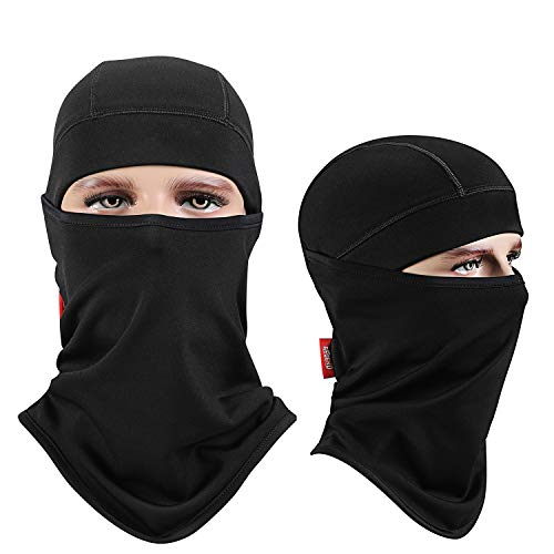 aegend Balaclava Windproof Ski Face Mask Winter Motorcycle Neck Warmer Tactical Balaclava Hood Polyester Fleece for Women Men Youth Snowboard Cycling Hat Outdoors Helmet Liner Mask-Black, 1 Piece