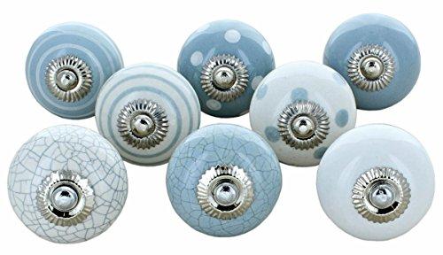 Lot de 8 boutons de porte en céramique Gris et blanc