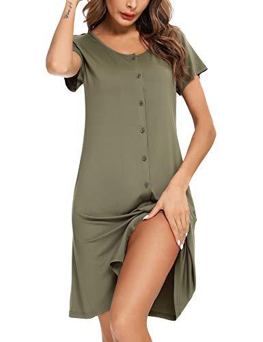 BESDEL Nachtkleding dames nachthemd korte mouwen casual slaapshirt button down nachthemd S-XXL