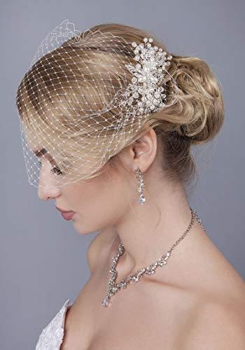 weichuang Accessoires de mariée Voile cage à oiseaux avec épingle à cheveux pour mariée Peigne à cheveux Perle de cristal Voile de mariée Accessoire de cheveux pour cheveux (Couleur : ivoire)