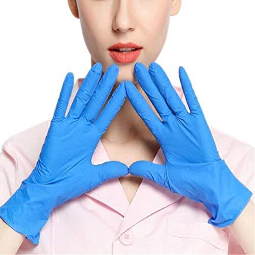 BraveWind Wegwerp Latex Handschoenen Blauw Laboratorium Handschoenen Rubber Handschoenen One Size Fit Alle Clear Handschoenen voor het reinigen, Koken, Haar Kleurplaten, Vaatwasser, Klein