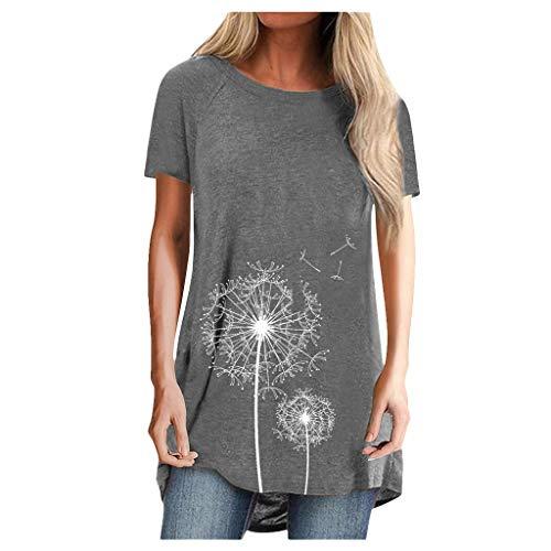Kanpola Tunika Damen Sommer Longshirt Kurzarm Pusteblume Bedruckte Tshirts Rundhals Oberteile LäSsig Minikleid Shirtkleid Sommerkleider