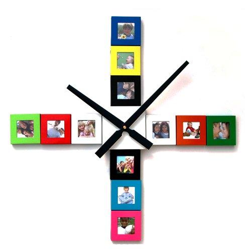 Bilderrahmenuhr - do it yourself - mit 12 bunten Rahmen - Fotowanduhr - Kombination aus Uhr und Bilderrahmen