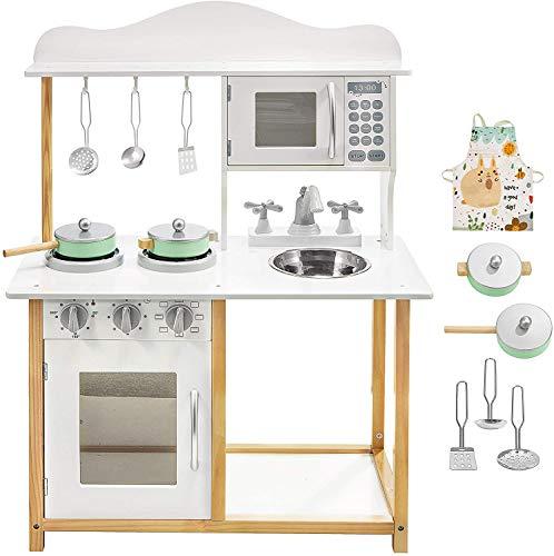 Jeux d'imitation Mamabrum Mamabrum cuisine en bois enfants 60 x 41 x 83 cm, dinette four plaque chauffante micro-ondes évier amovible accessoires (blanc)