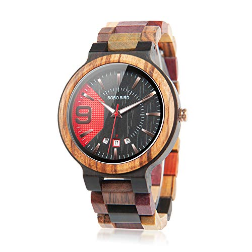 wood watches with dates BOBO BIRD Men's Colorful Wooden Watches Analog Quartz Date Display Wood Watch Handmade Luxury Casual Wristwatch with Gifts Box for Men