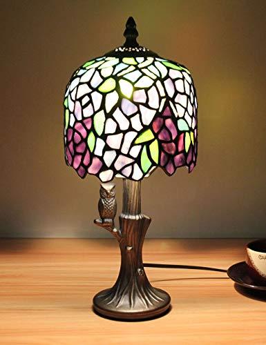 Luz europea de cabecera de la lámpara de mesa de la lámpara de mesa de la serie de cristal de estilo vintage de 8 pulgadas con base de búho
