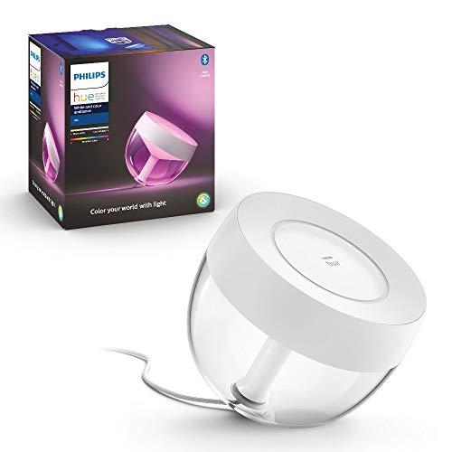 Philips Hue White and Color Ambiance Iris Lampada da Tavolo Smart, Bianca, con Bluetooth, Luce da Bianca a Colorata
