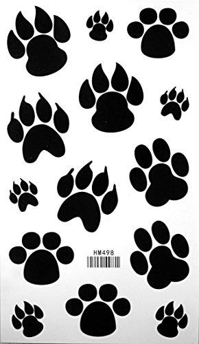 Dog Paw Footprint Tattoo Stickers Temporary Tattoos Fake Tattoos 3pcs/lot 17.8cm X 10cm