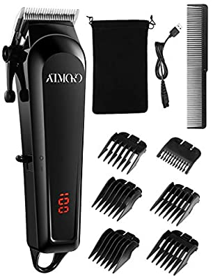 Cordless Hair Clippers for Men, ATMOKO Professional Hair Trimmer with 6 Guide Combs, Facial Beard Trimmer and Body Grooming Kit, Wireless USB Rechargeable LCD Display Precision Set from ATMOKO