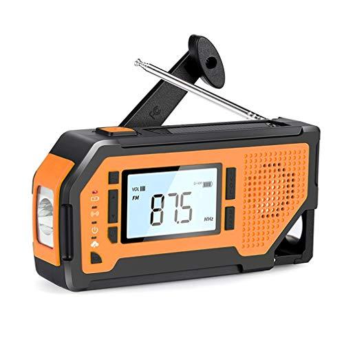 Radio de manivela Solar de Emergencia Alerta Sos con Gran Pantalla LCD Linterna Lámpara de Lectura 2000 mah Cargador de teléfono Celular Amarillo
