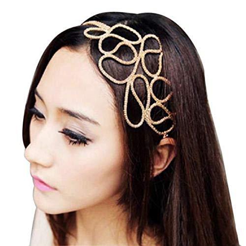 Ogquaton Bandeau de bande de cheveux élastique métallique de femmes 'pratique et pratique