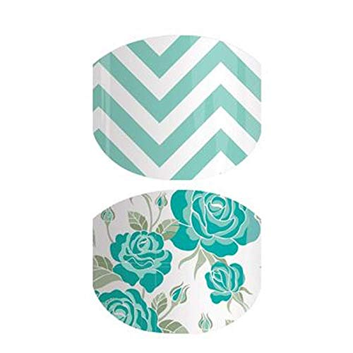 Mint to Be-Jamberry Nail Wraps-Juniors/Child Size-Full Sheet-Mint Green Floral on White with Mint Green Chevron