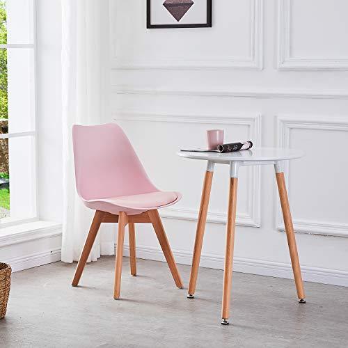 DORAFAIR Pack de 4 Retro sillas de Comedor Silla escandinava, Sillas Comedor Silla de Oficina con Las piernas de Madera de Haya Maciza,Rosado