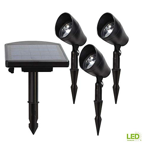 Solar Powered Black Outdoor Integrated LED 3000K Warm White Landscape Spot Light Kit with Remote Pan