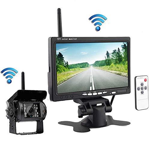 Kabellos Rückfahrkamera und Monitor, Rückfahrkamera kabellose Fahrzeuge Parkassistenzsystem, Nachtsicht wasserdichte Rückfahrkamera Mit 7-Zoll-HD-Monitor für Anhänger, Bus, LKW, Pferdeanhänger