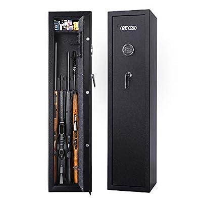 REYLEO Rifle Safe, Keypad Gun Safes for Rifles and Shotguns, Quick Access 7-Gun Storage Cabinet with Removeable Handgun Rack and Adjustable Shelf-GRS08