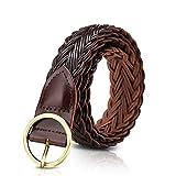 LumiSyne Cinturón Trenzado Elástico Para Mujer Cinturón Cuero Señoras Piel Hebilla De Cinturón Redondo Cinturón Ajustable Para Jeans Vestido Pantalones